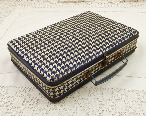 Vintage French Blue and White Metal Lunch Case, Retro Slim Child's Suitcase from France, Old Bento Box