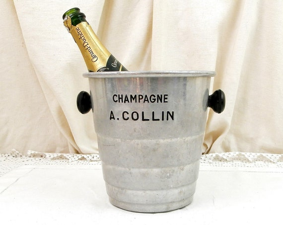 Vintage French Mid Century 1950s A Collin Champagne Silver Colored Metal Ice Bucket, Retro White Wine Bottle Cooler from France, Pot Holder