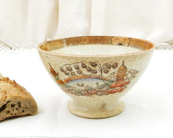Antique French 19 th Century Japonism Badionviller Ceramic Café au Lait Coffee Bowl, China Pottery Naopoleaon III Latte Bowl from France