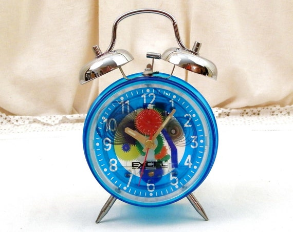 Vintage Working Transparent Mechanical Alarm Clock made of Colored Plastic and Metal, Retro Clear Wind Up Bedside Timepiece, Curio Gift