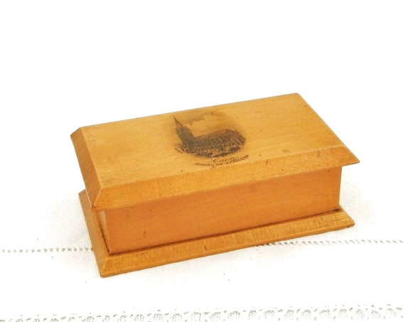 Antique Mauchline Ware Wooden Postage Stamp Box The Church of St Pierre Caen in Normandy France, Victorian Mauchlineware Collectible