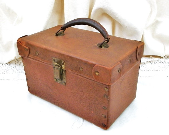 Small Antique French Square Faux Leather Case with Brass Clasps and Rivets, Retro Vanity Case or Suitcase, Vintage Luggage from France
