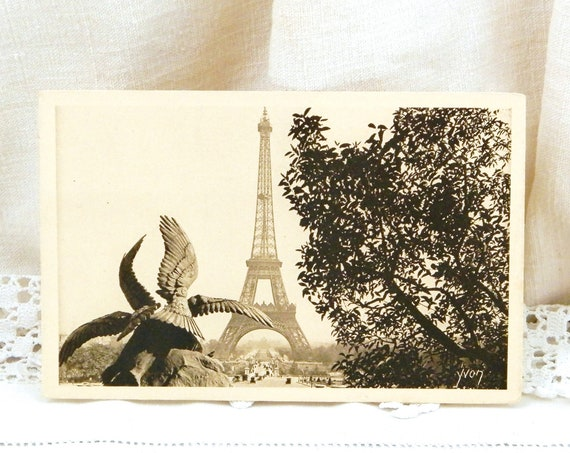 Antique French Unused Sepia Black and White Postcard View of Eiffel Tower in Paris, Retro Parisian Home Decor, Deltiology from France