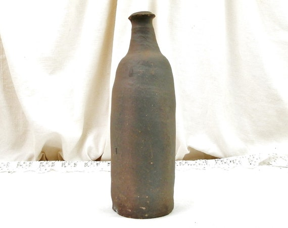 Antique French Rustic Dark Stoneware Unglazed Hand Thrown Bottle, Old Primitive Hand Made Pottery Vase from Normandy France, Farmhouse Decor