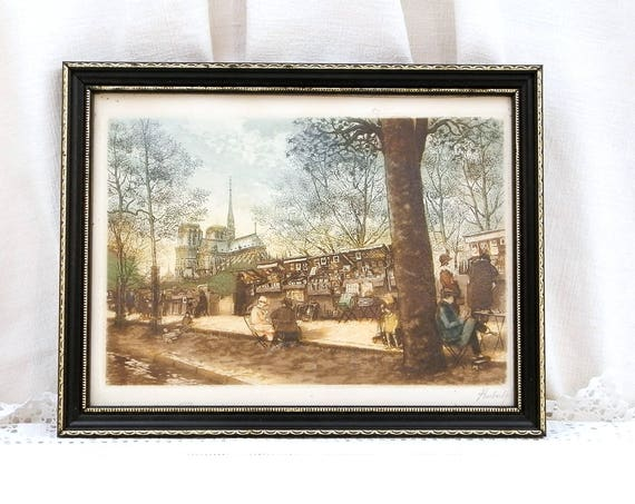 Vintage Original Signed Colored Aquatint Etching of Notre Dame de Paris and Bouquinistes by Artist Hubert, Framed French Engraving Picture