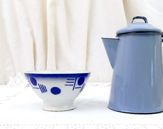 Antique Blue and White Art Deco Coffee Bowl from France, French Farmhouse Ceramic Café au Lait Bowl, Country Cottage Kitchen Latte Bowl