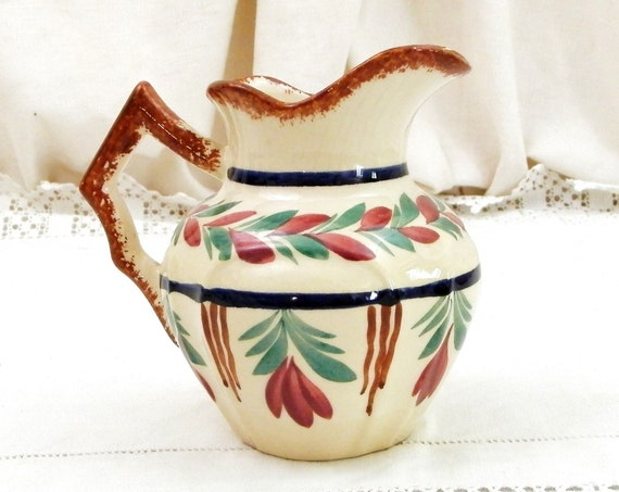 Vintage French Art Deco Breton HB Quimper Hand Painted Small Milk Cream Pitcher, Flower Vase with Floral Pattern Beige Glaze from France