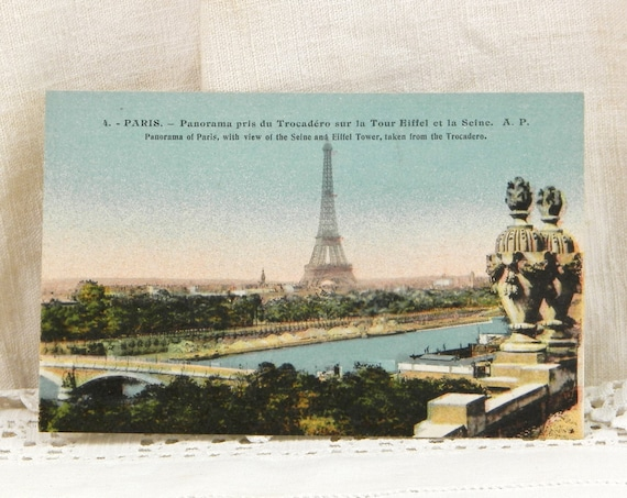 Vintage  French Colored Black and White Postcard of the Eiffel Tower and Panorama with the River Seine of Paris, Retro Card Brocante Decor