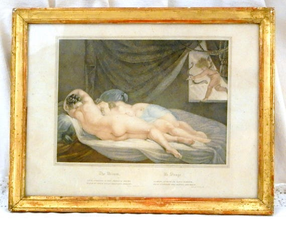 Antique Early 19th Century Framed Engraving The Dream with 2 Women Sleeping and a Cherubim, 1820s French Engraving, Erotic Etching