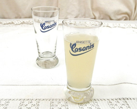 2 Vintage French Casanis Pastis Drinking Glasses, Pair Anisette Momie Clear Glass Aperitif Drinkware from France, Ricard Pernod Drinks