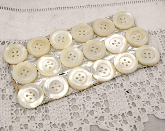 24 Large French Antique Unused Mother of Pearl / Nacre Buttons with 4 Holes Still on Original Card, Vintage Haberdashery, Sewing France