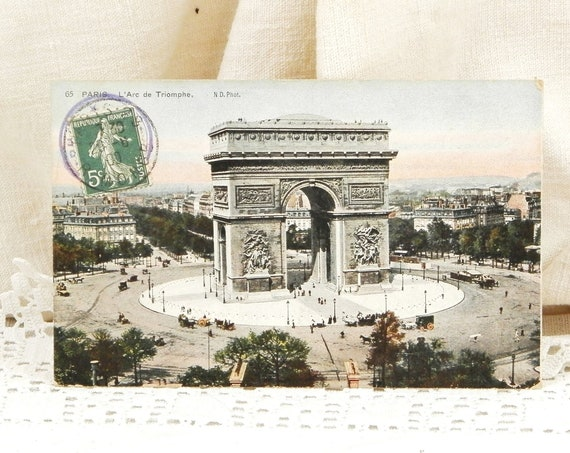 Antique French Colored Black and White Postcard Arche de Triomphe Famous Monument in Paris Posted in 1909, Parisian Decor, Deltiology France