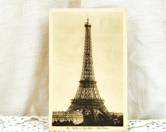 Antique Unused French Sepia Black and White Postcard of the Eiffel Tower, Vintage Parisian Brocante Farmhouse Decor, Collectible from France