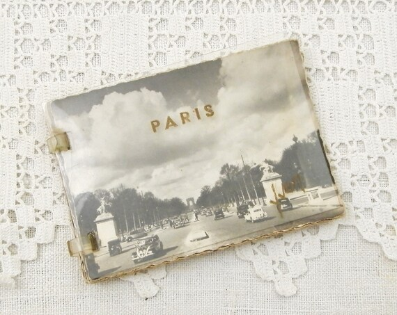Small Vintage 1940s French Booklet of 10 Mini Postcards of Paris Scenes including the Eiffel Tower, Retro Parisian Cards Book France