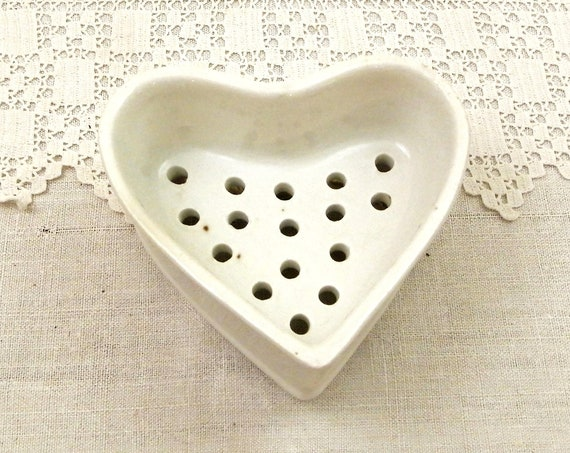 Antique French White Ceramic Heart Shaped Faisselle Mold from Normandy, Vintage Cheese Strainer from France, Country Cottage Kitchen Decor