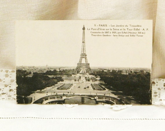 Antique French Unused Black and White Postcard View of Eiffel Tower in Paris, Retro Parisian Home Decor, Deltiology from France Brocante