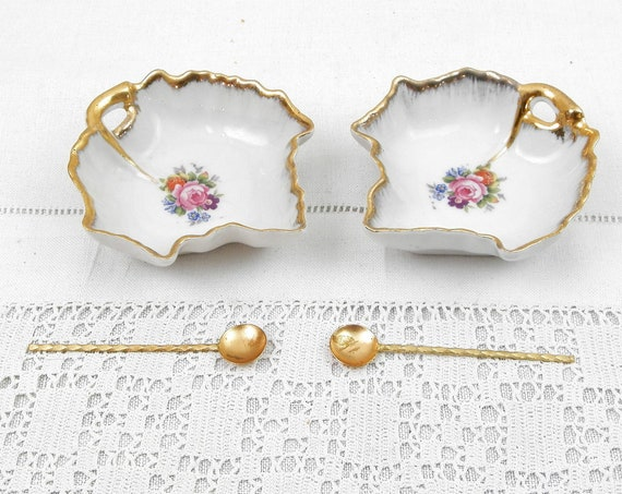 Set of 2 Vintage Limoges White Porcelain with Rose Pattern Condiment Dishes with Gold Plated Spoons from France, French China Tableware