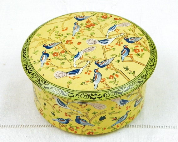 Vintage Yellow Persian Bird and Foliage Style Pattern Round Metal Tin, Retro Box with Parrots and Peacock Motif on Yellow with Green