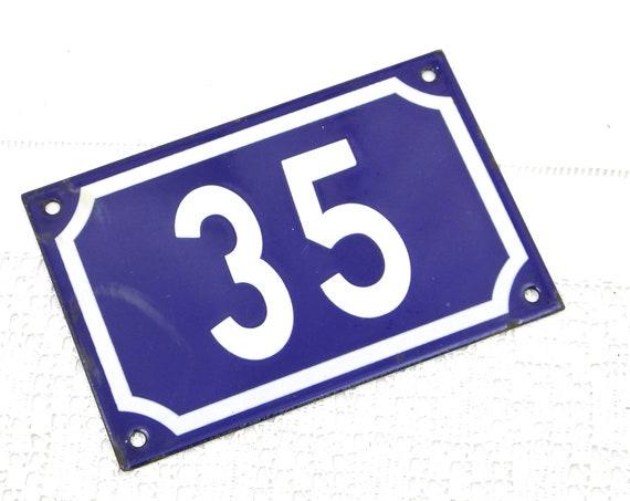 Vintage Traditional French Blue and Black White Metal Number Plaque 35 Vintage Porcelain House Street Enameled Address sign