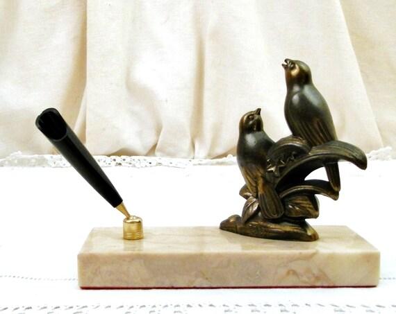 Antique French Art Deco 1930s Desk Top Pen Holder Signed Tedd, Vintage Statue 2 Cast Metal Birds on Marble Stone Base, Retro Office Decor