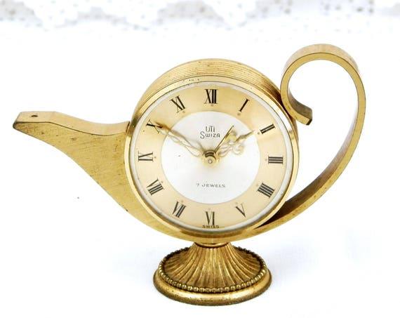 Working Vintage Alarm Clock, Swiss Swiza Mid Century 7 Jewels Gold 1950s Mechanical Wind-up Clock, Retro Bedroom Decor, Brocante Timepiece