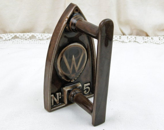Antique French Chocolate Brown Porcelain Enamel Clothes Iron Number 5, Collectible Laundry Accessory from France, Country Brocante Decor