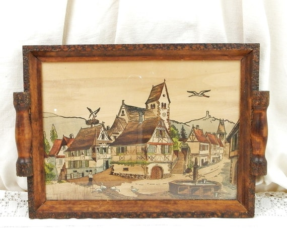 Vintage French Wooden Poker Work Pyrography Tray by the Artist Louis Bollinger of a Village Stork Nest In the Alsace Region of France