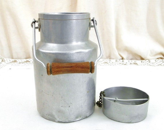 Antique French White Metal Milk Pail with Wooden Handle, Retro Vintage Country Cottage Dairy Churn, Farmhouse Kitchen Decor from France