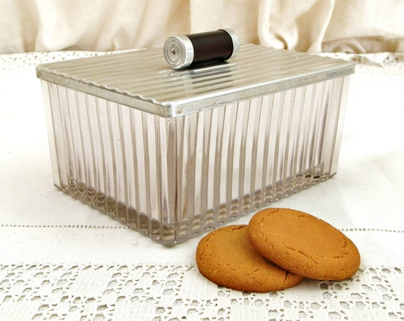 Vintage French 1930s Art Deco Smoked Glass Cookie Jar with Metal Lid, Retro 30s Biscuit Tin / Container from France, Jewelery / Trinket Box
