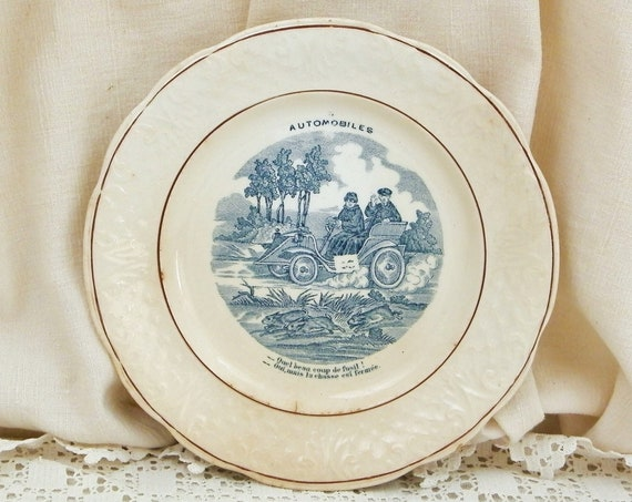 Rare Antique French Humorous Plate with an Early Automobile, Comical Wall Hanging Plate with 1900s Car from France, Shabby Country Decor