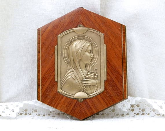 Vintage Art Deco French Bas Relief of St Theresa Brass and Exotic Wood Wall Hanging, Religious Profile of Saint Therese, Catholic Picture