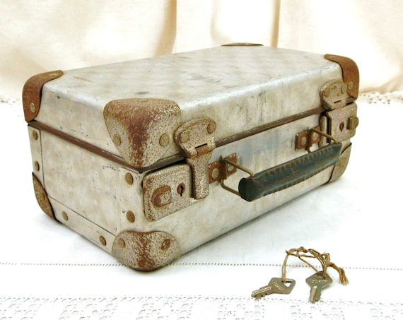 Vintage French Small Brushed Metal Suitcase with Working Keys, Child's Toy Industrial Case made of Silver Colored Sheet Metal from France