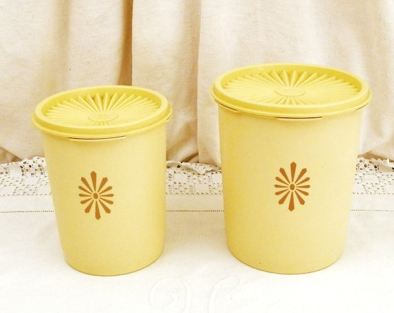 2 Matching Vintage 1970s Yellow Tupperware Canister Set, Pair of Kitchen Storage Lidded Pots, Retro 70s Plastic Kitchenware Made in England