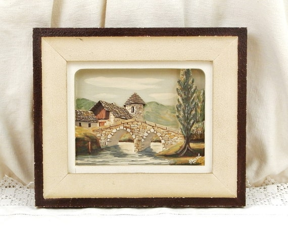 Vintage 1930s French 3D Hand Carved Solid Wooden Picture of Mountain River and Village by Rugel, Retro 30s Wood Relief Scene of the Alps