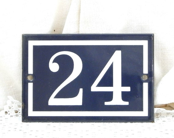Vintage Traditional French Dark Blue and White Metal Number Plaque 24, Retro Porcelain House Street Enameled Address Sign from France