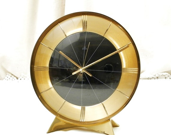 Large Working Round Vintage 1950s Mid Century Swiss Made Mechanical Alarm Clock Swiza, Retro 50s Brass Bedside Wind-Up Timepiece Switzerland