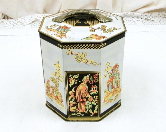 Vintage British Metal Octagonal Tea Caddy Tin by Peek Frean and Co LTD from London with Stylized Chinese Pattern in White with Gold