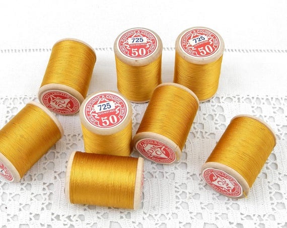 Vintage Unused Sewing Yarn / Thread on Wooden Reel / Bobine of Gold Colored Rayon / Imitation Silk 100 Meters by DMC from France,  French