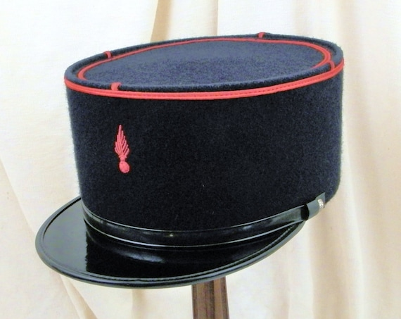 Vintage French Firefighter Official Uniform Kepi of Dark Blue Felt with Red Ribbing, Retro Fire Man's Costume Fabric Hat / Cap  from France