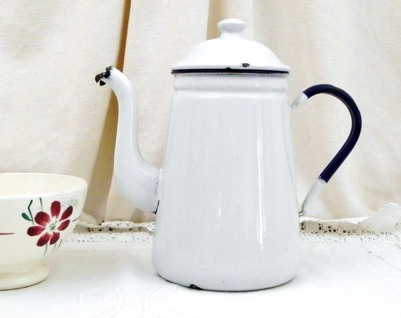 Antique Swedish Kockums White and Blue Enamelware Goose Neck Coffee Pot, Old Rustic Shabby Country Cottage Kitchen Enamel Kettle from Sweden