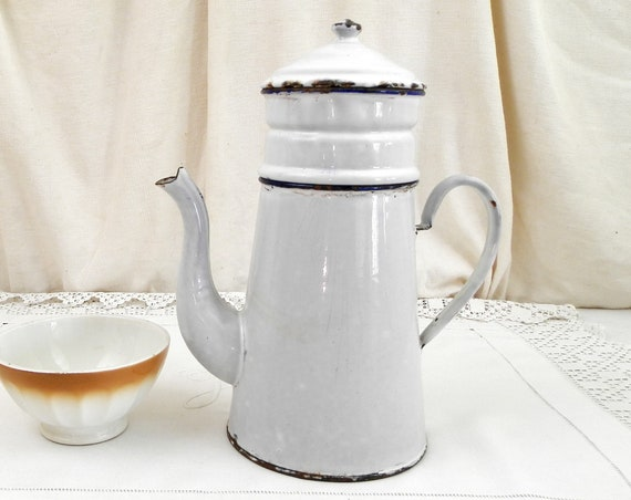 Large Antique French White Porcelain Enamel Goose Neck Coffee Pot, Enamelware Shabby Cafetiere from France, Vintage Country Kitchen Decor