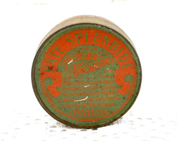 """Antique French Metal Tin with Belle Epoque Graphics in Orange and Green Range Paste """"Pate Splendide"""" from Paris, Polish Box from France"""