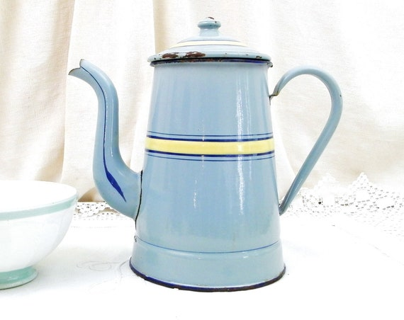 Antique French Blue with Yellow Enamel French  Goose Neck Spout Coffee Pot, Enamelware Pour Over Cafetiere from France, Retro French Country