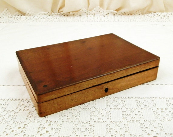 Antique French Mahogany, Oak and Pine Rectangular Paint Box, Vintage Artists Equipment Made of Wood from France, Retro Storage Container