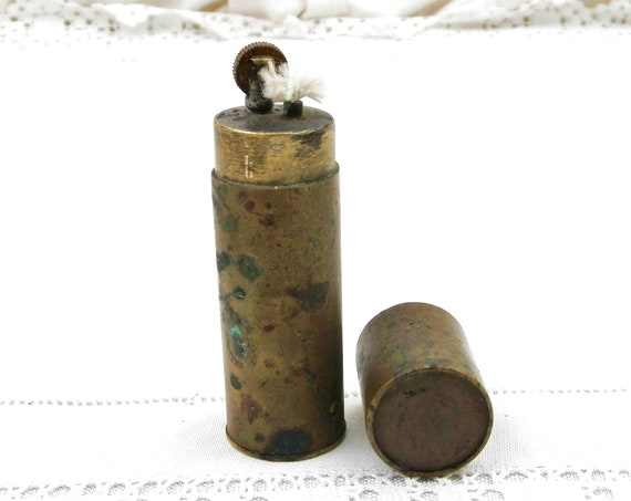 Antique French WW1 Tranches Art Brass Bullet Case Cigarette Lighter with French Copper Coin, World War One Petrol Wick Lighter from France