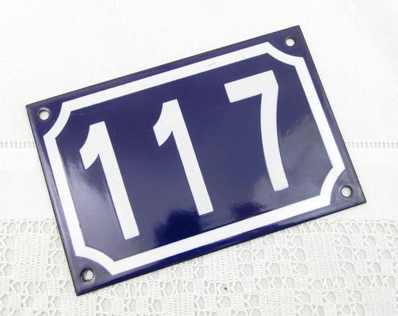 Blue and White Enamel Metal Number Plaque 117, Vintage French House Street Enameled Sign, Retro Porcelain Address Numbers from France