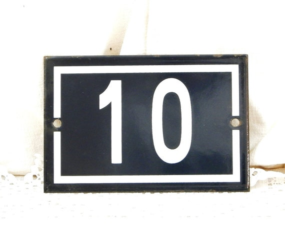Vintage Traditional French Dark Blue and White Metal Number Plaque 10, Retro Porcelain House Street Enameled Address Sign from France