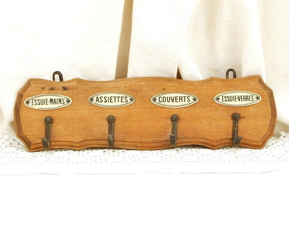 Antique French 4 Metal Hook and Wooden Wall Hanging Kitchen Towel Rack, Retro Kitchenware from France, Country Cottage Farmhouse Decor