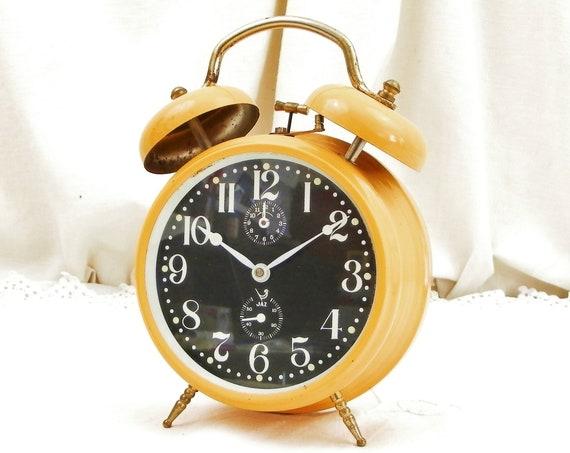 Vintage 1970s Working French Jaz Orange and Black 2 Bells Mechanical Wind Up Alarm Clock, Retro 70s Bedside Timepiece, 1960s Bedroom Decor