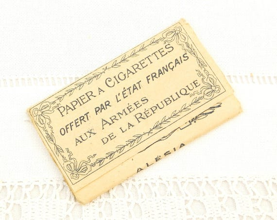 Antique  WW1 Complete Booklet of Cigarette Papers Issued to the French Army Made by Alesia Paris, Collectible Great War Militaria 1914